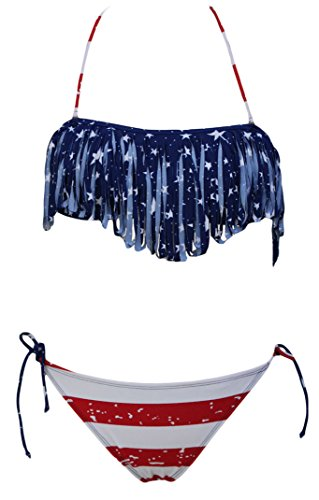 Women's Sexy American Flag Us Stars Bikini Swimwear Tassel Swimsuits 2 Pieces