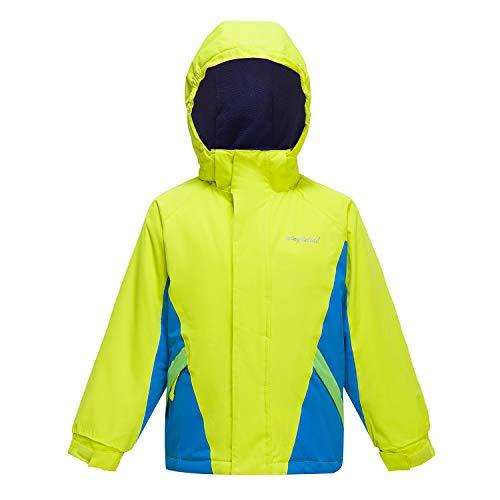 - YINGJIELIDE Boy's Waterproof Ski Jacket Kids Outdoor Windproof Fleece Lined Hooded Winter Coat Fluorescent Green 5-6 Years