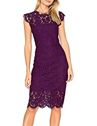 Women's Sleeveless Lace Floral Elegant Cocktail Dress...