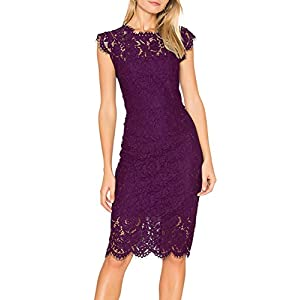 MEROKEETY Women's Sleeveless Lace Floral Elegant Cocktail Dress Crew Neck Knee Length for Party 25