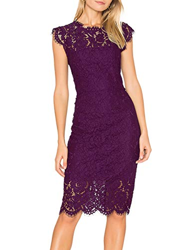 MEROKEETY Women's Sleeveless Lace Floral Elegant Cocktail Dress Crew Neck Knee Length for Party Plum