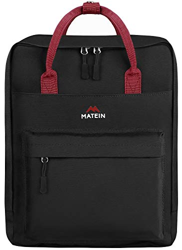 MATEIN Work Backpack,Slim Casual Daypack for Women and Men,Waterproof Square Student Bookbags for Teen Boys and Girls,Trendy Lightweight Sports Outdoor Shoulder Bag for Daily Travel Black