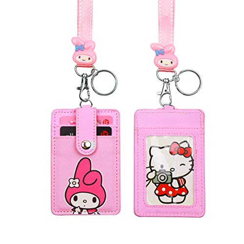 (HASFINE Cute Credit Card Case Neck Pouch ID Badge Holder Lanyard Wallet with Cartoon Shield Keychain for Students Teens Boys Girls Women)