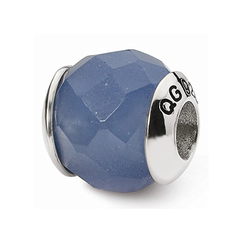 Sterling Silver Reflections Blue Quartz Stone Bead ()