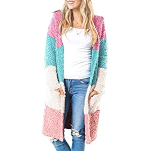 MEROKEETY Women's Long Sleeve Colorblock Open Front Hoodie Knit Sweater Chunky Cardigan with Pockets