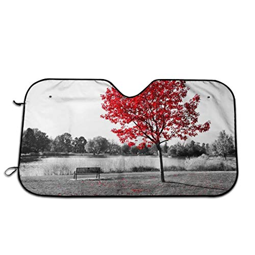 Red Tree On The Black And White Background Of Park Car Sunshade Standard Sun Shade Keeps Your Vehicle Cool UV Protection And Sun Protection