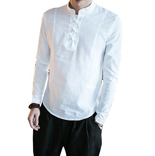 S&S Men Chinese Mandarin Collar Frog-Button Slim Fit Long Sleeve Linen Shirts