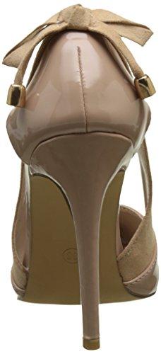 Angkorly - Zapatillas de Moda Tacón escarpín stiletto abierto decollete mujer tanga metálico nodo Talón Tacón de aguja alto 10 CM - Beige