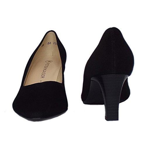 Peter Kaiser Clásico De Mani Semi Puntiaguda Medio Tacón Corte Zapatos En Gamuza Negra Black Sued