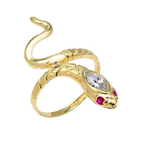 (Fine 14k Yellow Gold Red CZ Eye Snake Band Wrap Ring (Size 7.25))