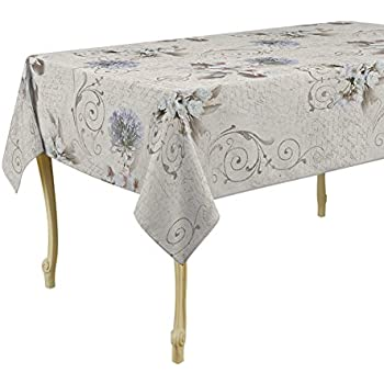 60 X 95 Inch Rectangular Tablecloth White Romance, Stain Resistant,  Washable, Liquid