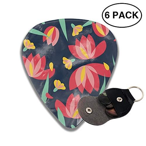 (Floral Vector Pattern Design Illustration Celluloid Guitar Picks 3 D Print Cool 6pcs 0.46mm 0.71mm And 0.96mm)