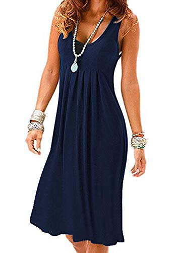 - Akihoo Women Casual Summer Vest Dresses Loose Cotton Sleeveless Pleated Fashion Plain #1-Navy Blue XX-Large