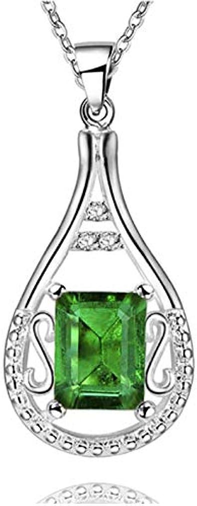 CLH0405 Piedras Preciosas de Colores Colgante en Forma de Gota de Agua Collar de Plata 925 Joyas para Mujeres Aquamarine Ruby Emerald Party