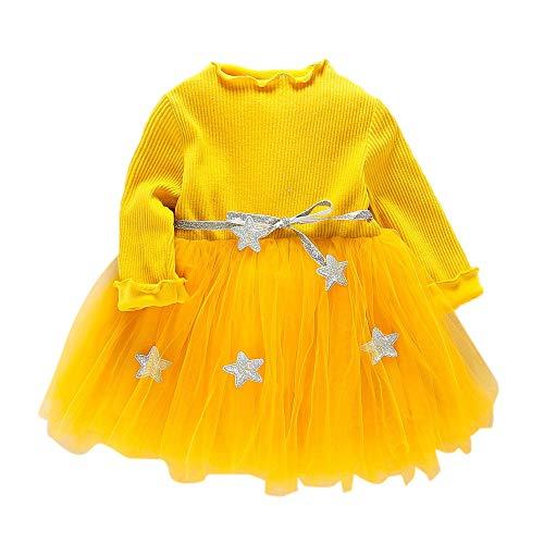 Gallity Kids Baby Girls Tutu Dress Long Sleeve Star Party Princess Dresses Autumn Winter Clothes (6-12 Months, Yellow)