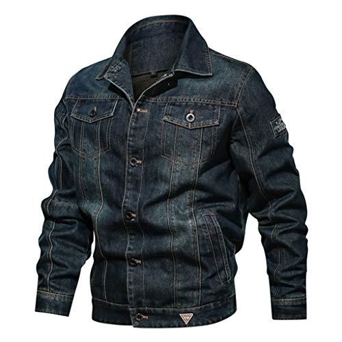 ZEFOTIM Trench Coats for Men, Autumn Winter Vintage Zipper Stand Collar Solid Imitation Leather Coat(M-Navy,XXXXXX-Large) (2xlt Trench Coat)