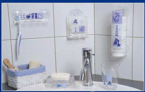 EVIDECO 670055 Key West Bathroom Round Acrylic Cotton Makeup Pad Dispenser Suction Mounted