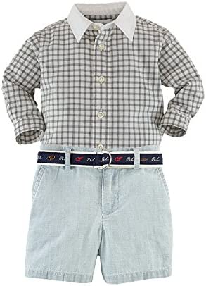 42af7e345f33d Ralph Lauren Polo Baby Boys Gingham Shirt amp  Belted Chambray Shorts Set  (3 Months)  Amazon.in  Baby