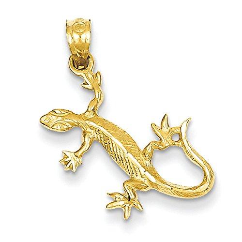 14K Yellow Gold Lizard Charm Pendant 14k Gold Lizard Charm