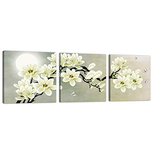 White Magnolia and Butterfly Under the Moon Modern Flower Canvas Wall Art Prints Home Decor Decals Posters Pictures Paintings for Living Room Bedroom 3 Panel Framed Ready to Hang (20x20inchx3pcs, 1)