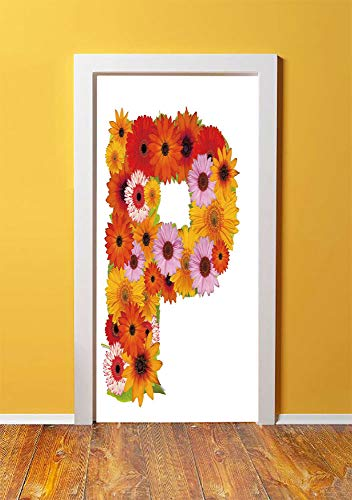 Daisy Balloons Gerbera (Letter P 3D Door Sticker Wall Decals Mural Wallpaper,Flower Arrangement with Gerbera Daisies Colorful Palette Alphabet P Symbol Print Decorative,DIY Art Home Decor Poster Decoration 30.3x78.2965,Multi)