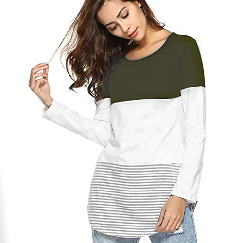iTLOTL Women Daily Casual Long Sleeve Striped Patchwork Stretchy Tops Blouse T-Shirt(Army Green,US-8/CN-M) from iTLOTL