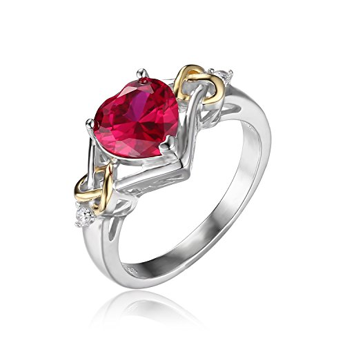 JewelryPalace 2.5ct Heart Created Red Ruby Anniversary Ring 925 Sterling Silver Size 6