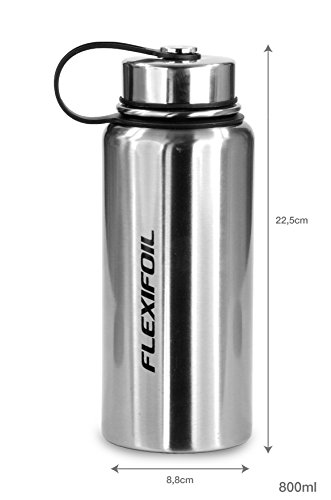 FLEXIFOIL 28 Ounce Insulated Stainless Steel Vacuum Drink Thermos Travel and Camping Flask. For Top to Bottom Shelf and Perfect Choice of Thermoses for Hot Coffee and Water. Including Stopper. (28oz)