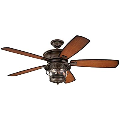 7800000 Brentford 52-Inch Aged Walnut Indoor/Outdoor Ceiling Fan, Light Kit with Clear Seeded Glass