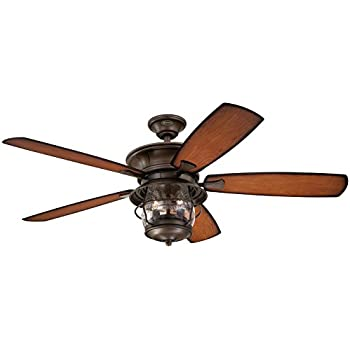 Good 7800000 Brentford 52 Inch Aged Walnut Indoor/Outdoor Ceiling Fan, Light Kit  With Clear Seeded Glass