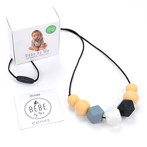 Bebe Designer (Bebe by Me 'Okinawa' Designer Teething Necklace & Gift Box - JPN Maple & Pearl)