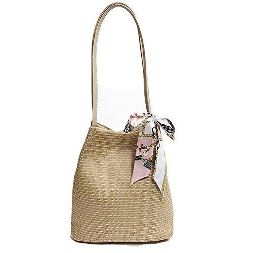 Bandage GAOQQ Bucket Weave Beige Bag Bag Bag Khaki Beach Summer Bag Woman Fashion Simple Holiday Rattan FF0rwqT