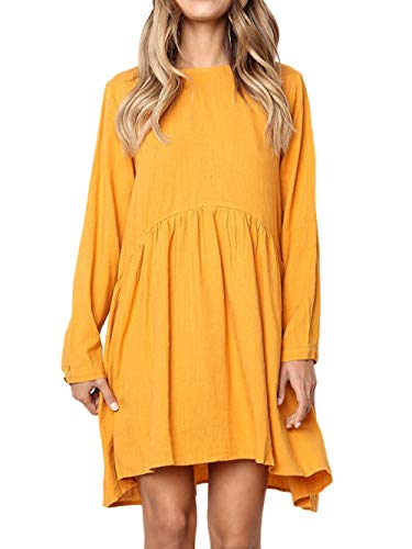 Sleeves Loose Scoop Casual Dress Low CLOUR Pleated Swing High FOUR Yellow Neck Long Women's qpZXZ1
