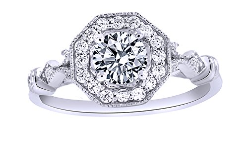 White Moissanite and Cubic Zirconia Engagement & Wedding Band Ring In 14K White Gold Over Sterling Silver (0.75 Cttw)