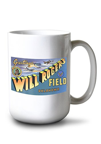 (Oklahoma - Will Rogers Field; Large Letter Scenes (15oz White Ceramic Mug))