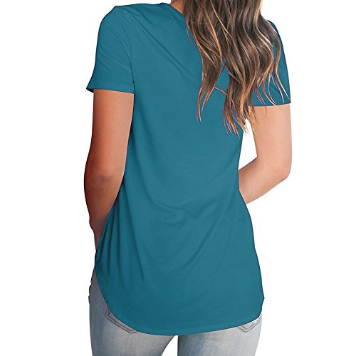 De Col Top 5xl Élégante shirt Lâche Bleu À Courtes Printemps S Manches Mode Femme Été T Tunique Unie V Chemise Streetwear Couleur Blouse Longue anFCqw