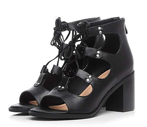 - Genuine Leather Shoes Zipper high Square Heels Shoes Open Toe Women Sandals Party Shoes,Black,6