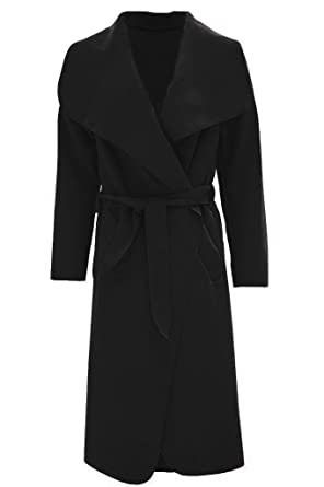 0f0d4523038 Amazon.com  RZN Fashion Women Ladies Italian Long Duster Waterfall French  Belted Jacket Trench Coat (SM To ML)  Clothing