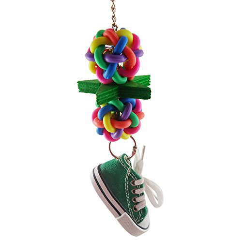 Chain Birdcage (Softmusic Multicolor Ball Sneaker Chain Bird Cage Parrot Chew Climbing Hanging Decor Toy)