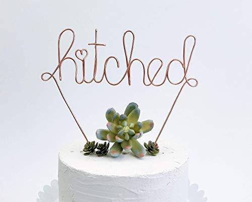 Hitched Custom Wedding Bridal Shower Rose Gold Cake Topper