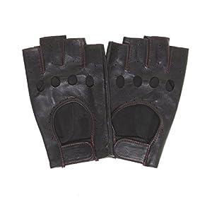 Pratt and Hart Men's 1/2 Finger Leather Driving Gloves (Fingerless)