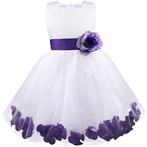 iiniim Girls Petals Tulle Princess Wedding Pageant Party Flower Girl Dress White Purple 12