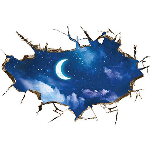 Creative 3D Space Wall Decals - Removable PVC Curved Moon Wall Stickers Murals Wallpaper Art Decor for Home Walls Ceiling Boys Room Kids Bedroom Nursery School -