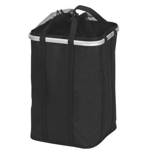 Household Essentials Collapsible Krush Laundry Hamper with Mesh Top and Aluminum Rim, Black by Household Essentials