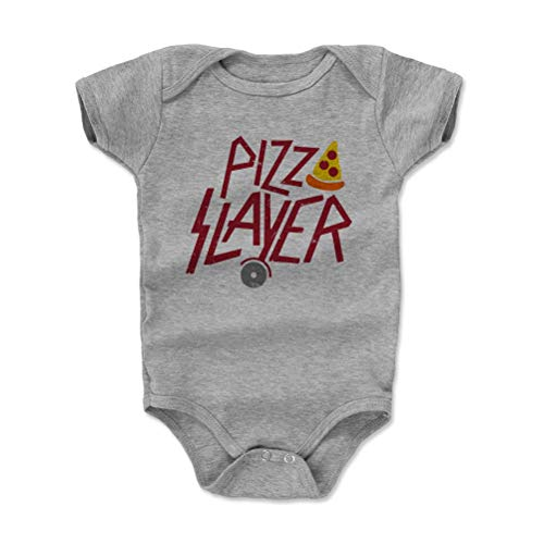 Pizza Baby Clothes, Onesie, Creeper, Bodysuit - Pizza Slayer (Heather Gray, 3-6 Months)