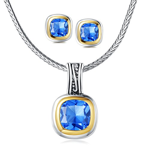 UNY Jewelry Elegant Wedding Jewelry Sets with CZ Earrings Necklace Set For send his wife a gift (Blue)