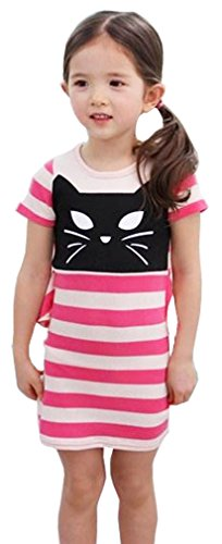 Little Kids Babies Cat Face Pink White Stripe Slim Dress with Back Lace (Black And White Dress Up Ideas)