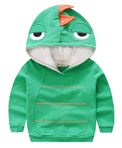 Cotton Kids Boys Girls Dinosaur Sweatshirt Long Sleeve Children Cartoon Hoodie Costume T-shirts Outerwear 2-3 Years Old Green