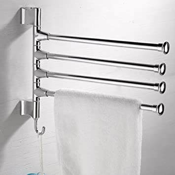 WINOMO Wall Mounted Stainless Steel 4 Swivel Bars Bathroom Towel Rack Hanger Holder Organizer