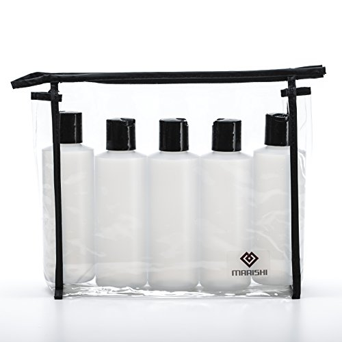 Marishi 6 Ounce Plastic Bottles with Caps for Liquids. Set of 5 in Zippered Carry Bag. (5 Caps)